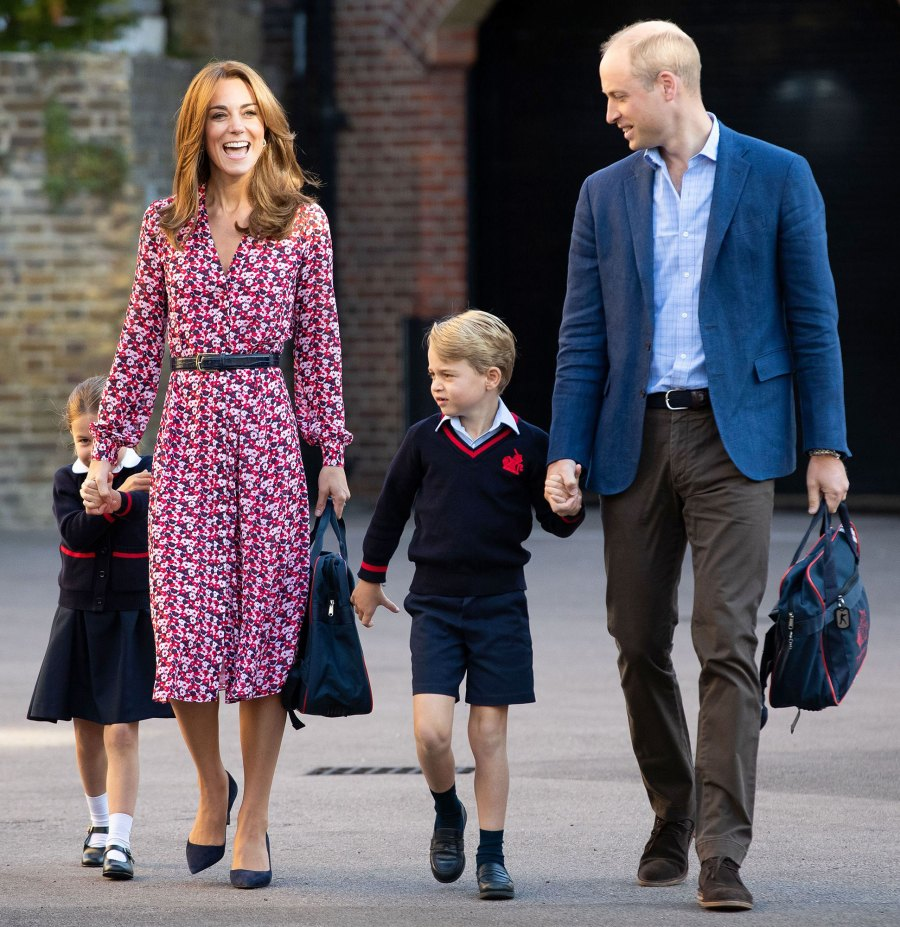 Princess Charlotte Shy First Day of School With Prince George, Catherine Duchess of Cambridge, Prince William