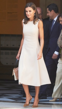 Queen Letizia Cream Dress September 12, 2019