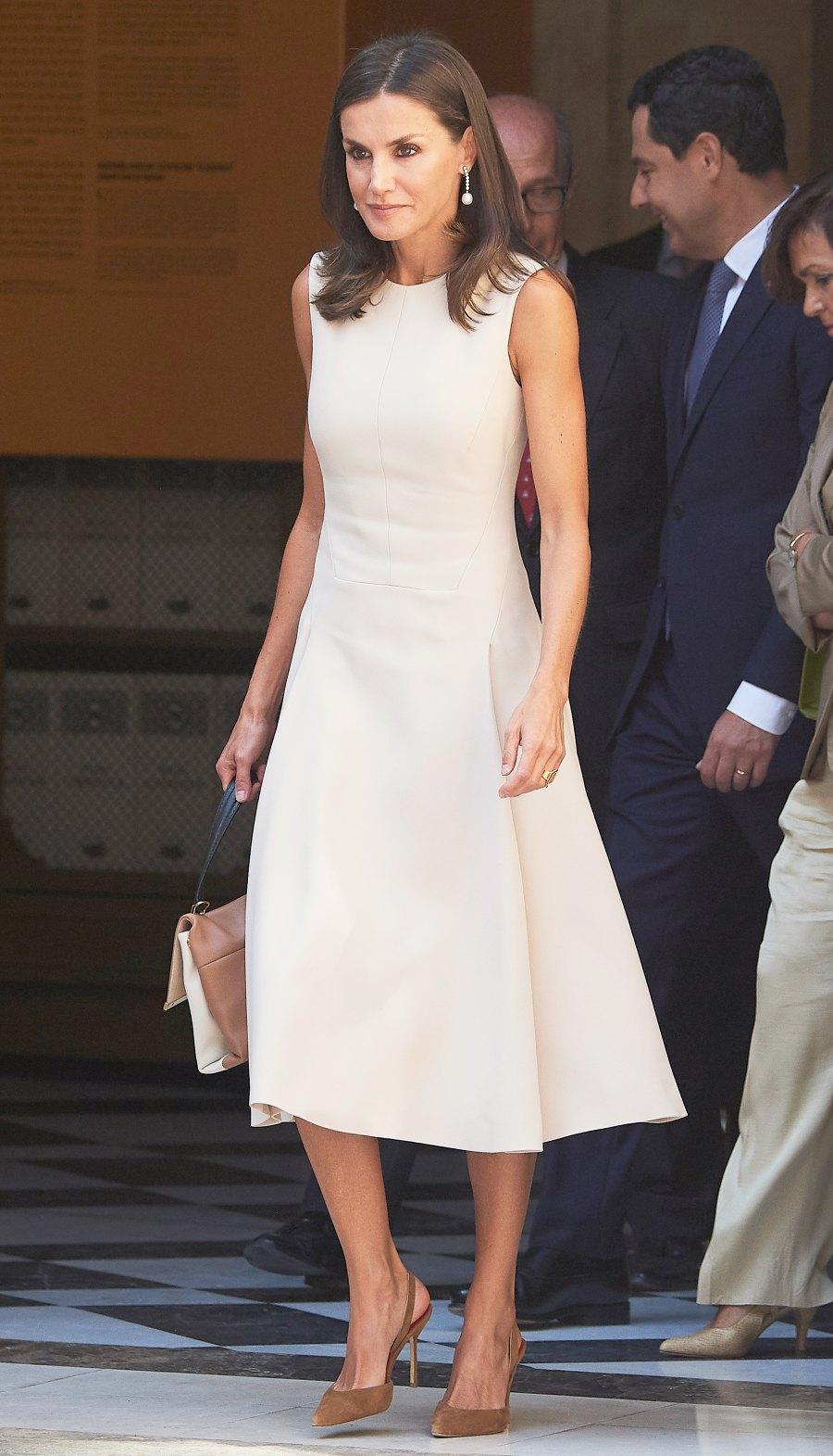 Queen Letizia Cream Dress September 12, 2019
