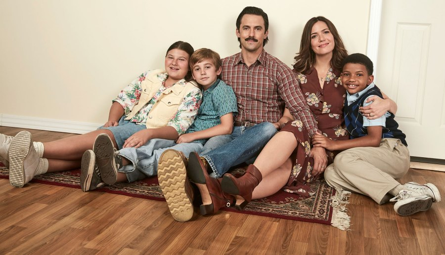 This Is Us Young And Old Flashback Mackenzie Hancsicsak as Kate, Parker Bates as Kevin, Milo Ventimiglia as Jack, Mandy Moore as Rebecca, Lonnie Chavis as Randall