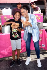Tia Mowry Hardrict and Cree Hardrict with Pink's Hot Dogs