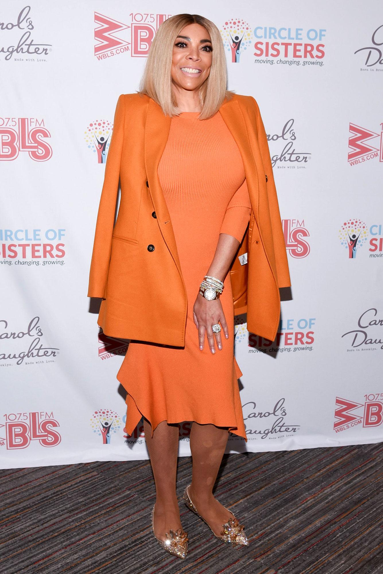 Wendy Williams Orange Dress Orange Jacket on WWHL Prenup