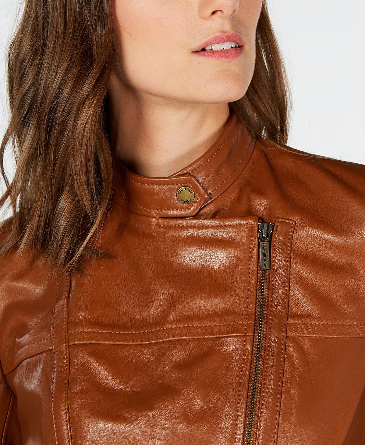MIchael Kors Leather Jacket Snap Neck