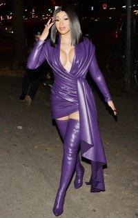 Cardi B Purple Leather Look September 30, 2019