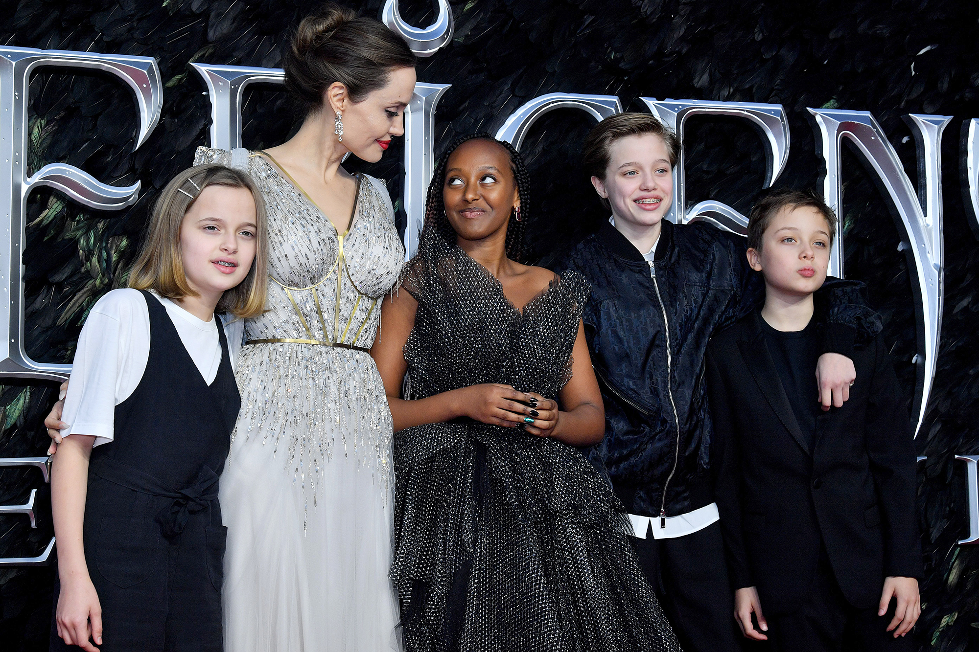 Angelina Jolie Brings Her Kids To London Maleficent Premiere
