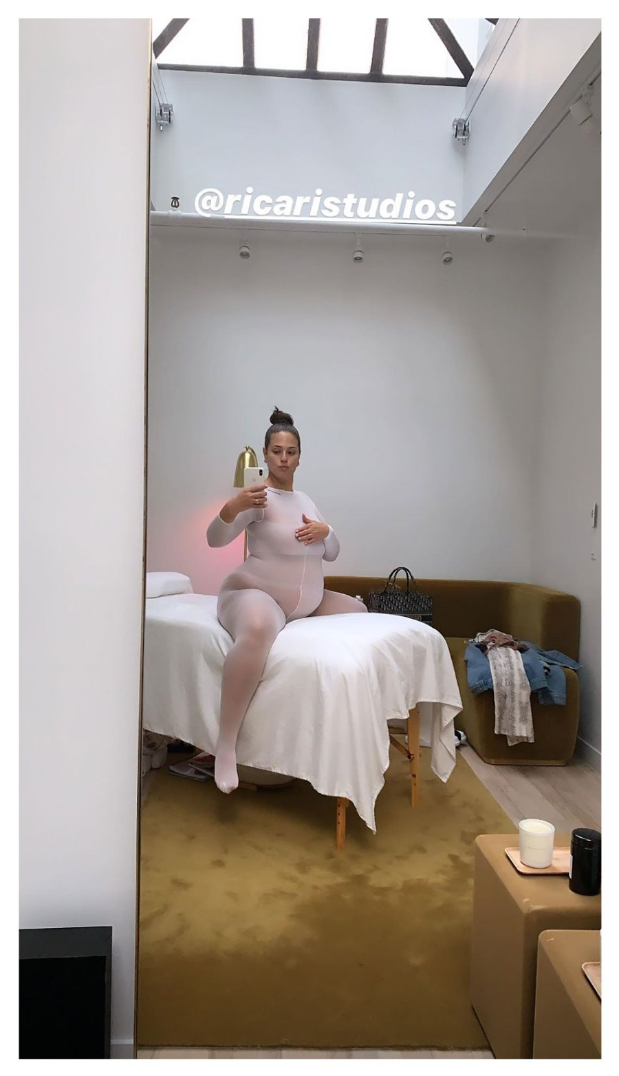 Ashley-Graham-Instagram-Selfie-Pregnancy-Sheer-White-Outfit