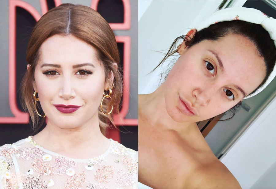 Ashley Tisdale Makeup Free Instagram Before and After