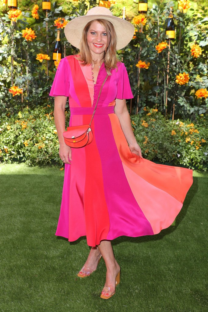 Candace Cameron Bure Veuve Clicquot Polo Classic Colorful Dress and Sun Hat Wearing Prabal Gurung