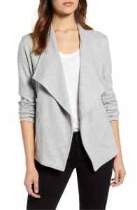 Caslon Drape Collar Knit Blazer grey