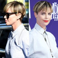 Charlize Theron Hair Change Darker and Wispier Bowl Cut