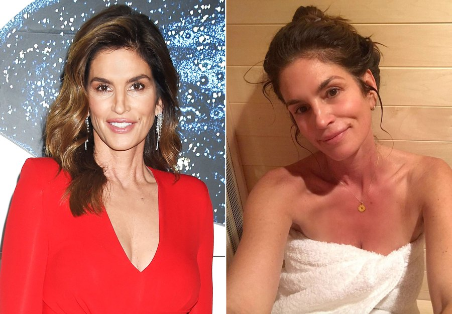 Cindy Crawford Makeup Free Before and After