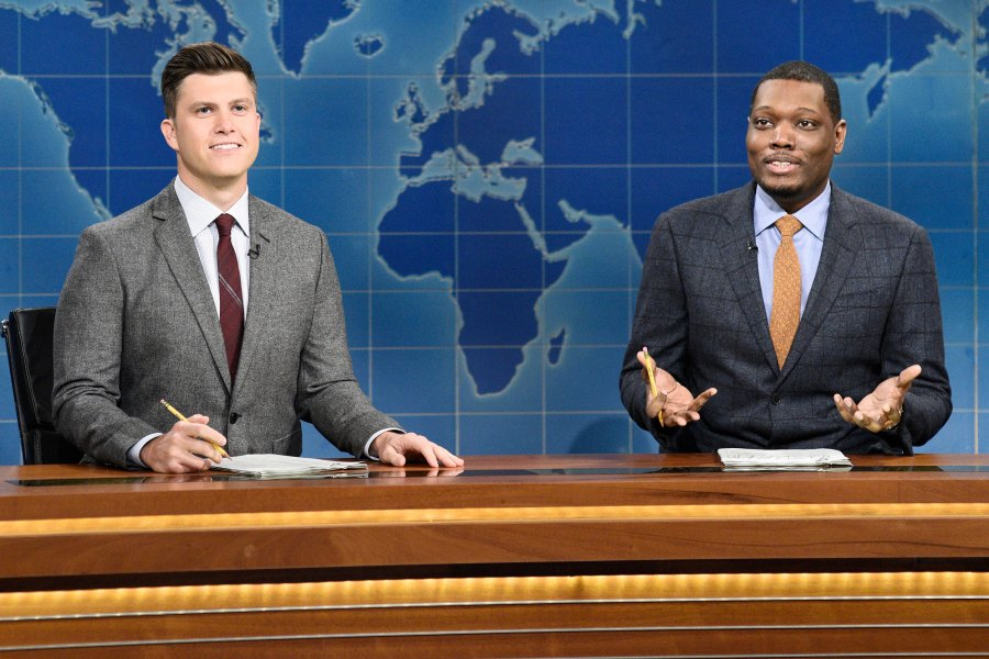 Colin Jost and anchor Michael Che during Weekend Update