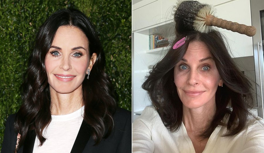 Courteney Cox Makeup Free Before and After