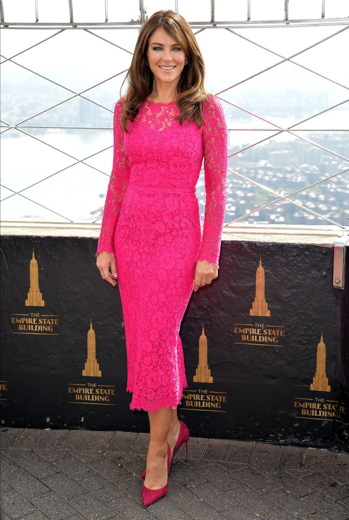 Elizabeth Hurley stuns in pink dress to light up Empire