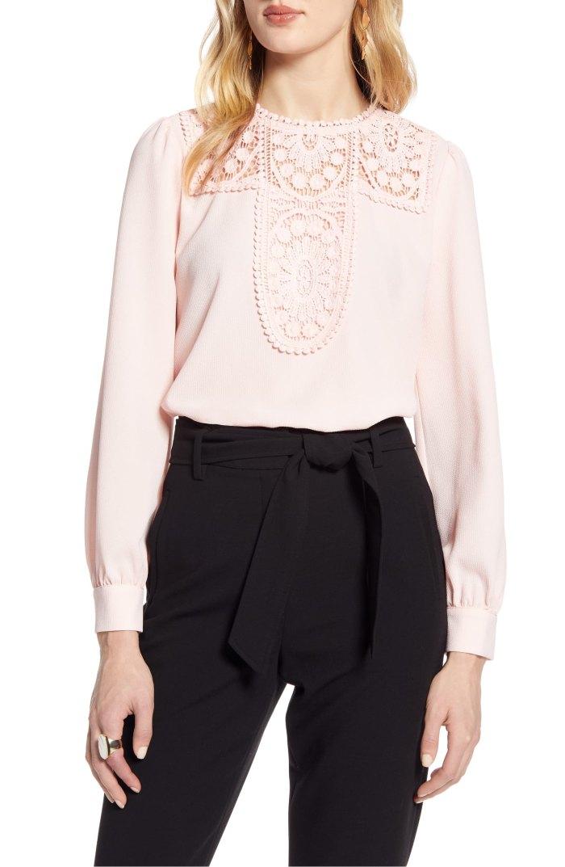Halogen Lace & Crepe Blouse pink