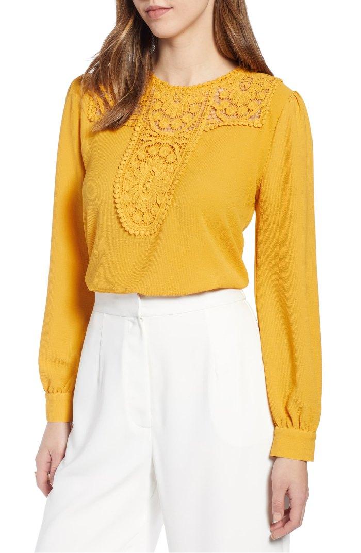 Halogen Lace & Crepe Blouse yellow