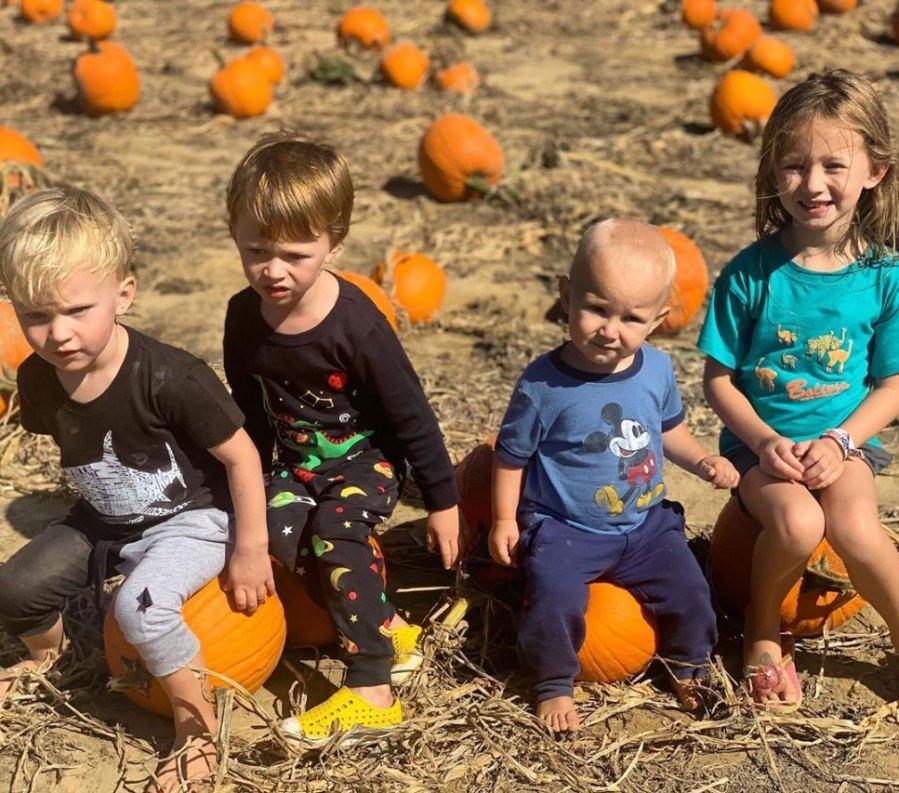 Hilaria and Alec Baldwin Celebrity Families Visiting Pumpkin Patches