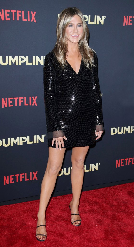 Jennifer Aniston Red Carpet Dumplin Wearing Stella McCartney, Bag By Valextra