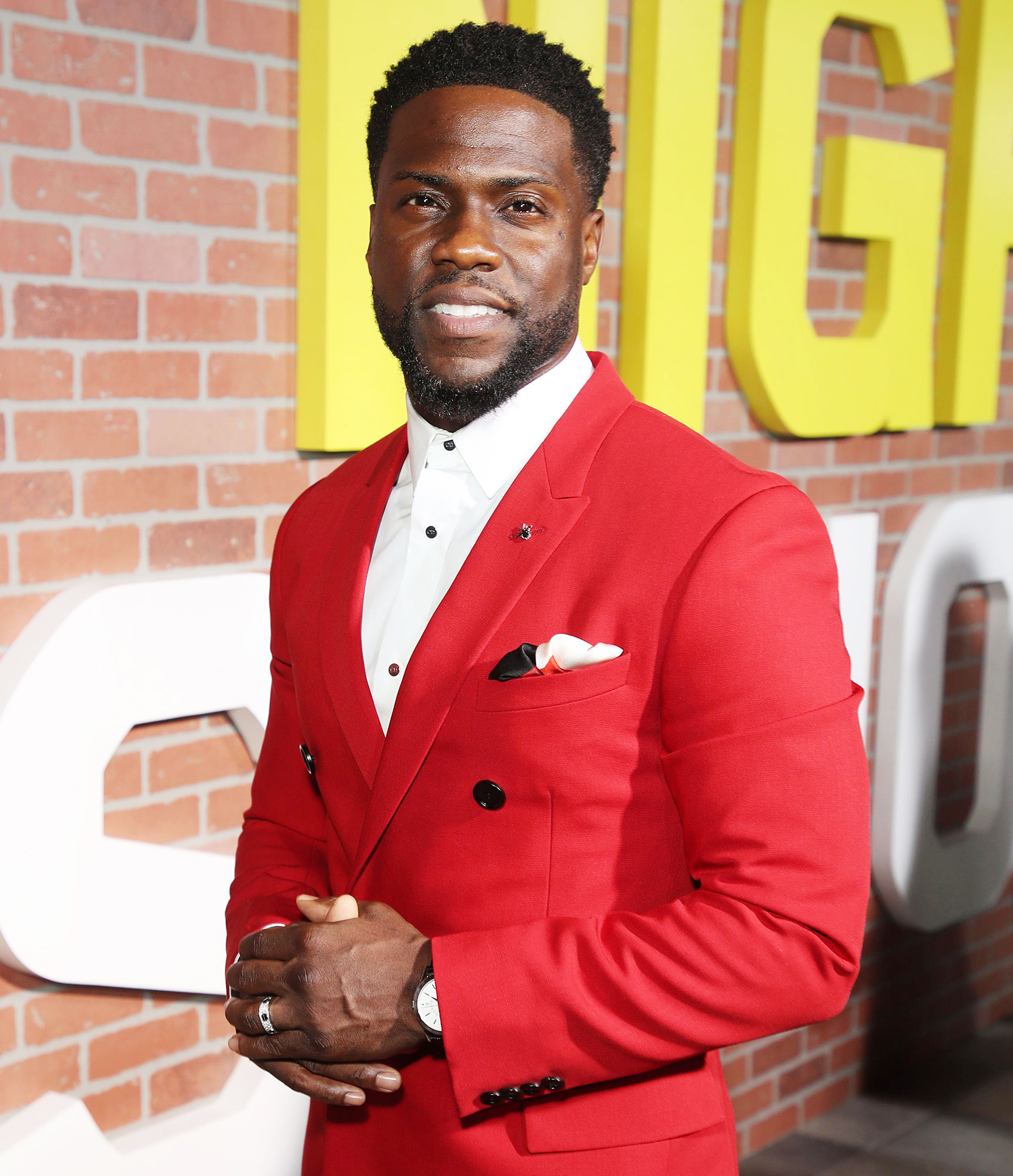 Kevin Hart at Night School Premiere in a Red Jacket Is Back at Work After Car Accident But Nowhere Near Full Recovery