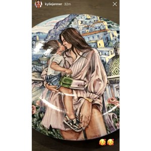 Kylie Jenner Shows Off Painted Dish With Picture of Her and Stormi