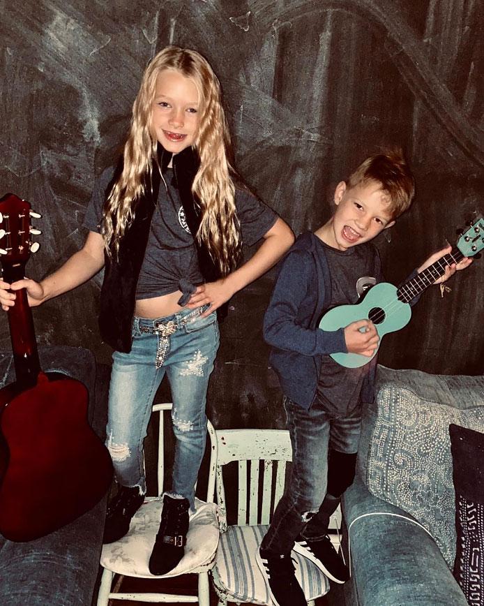 Maxwell and Ace Johnson Jessica Simpson Instagram Halloween Costume School of Rock