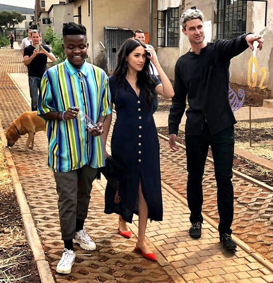 Meghan Markle Africa Tour Looks Navy Dress September 30, 2019