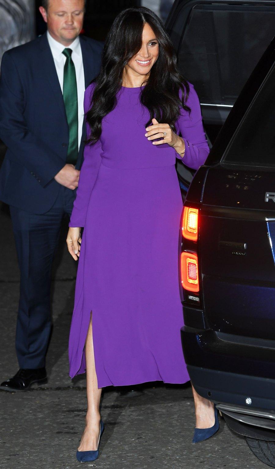 Meghan Markle Purple Dress October 22, 2019