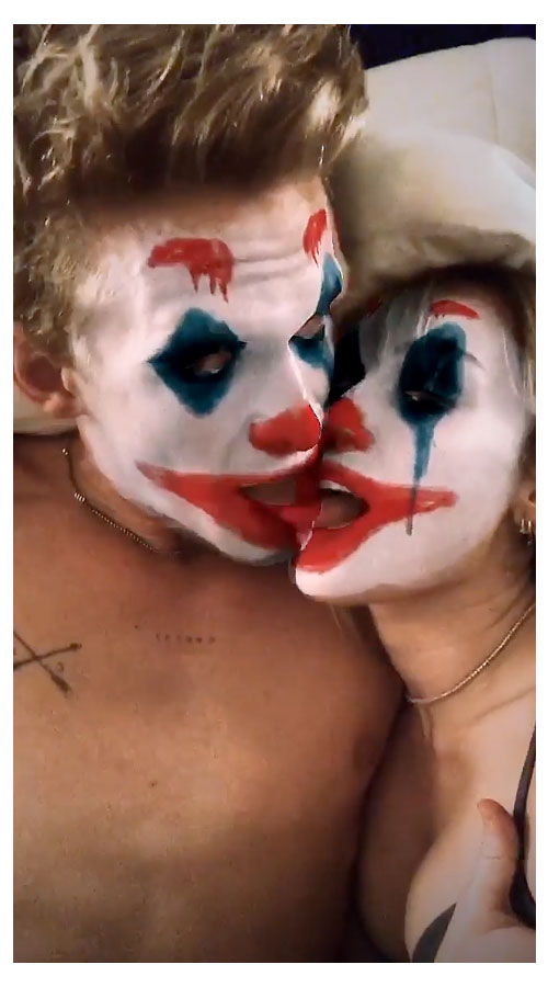 Miley Cyrus and Cody Simpson Instagram Joker Kiss Tounge