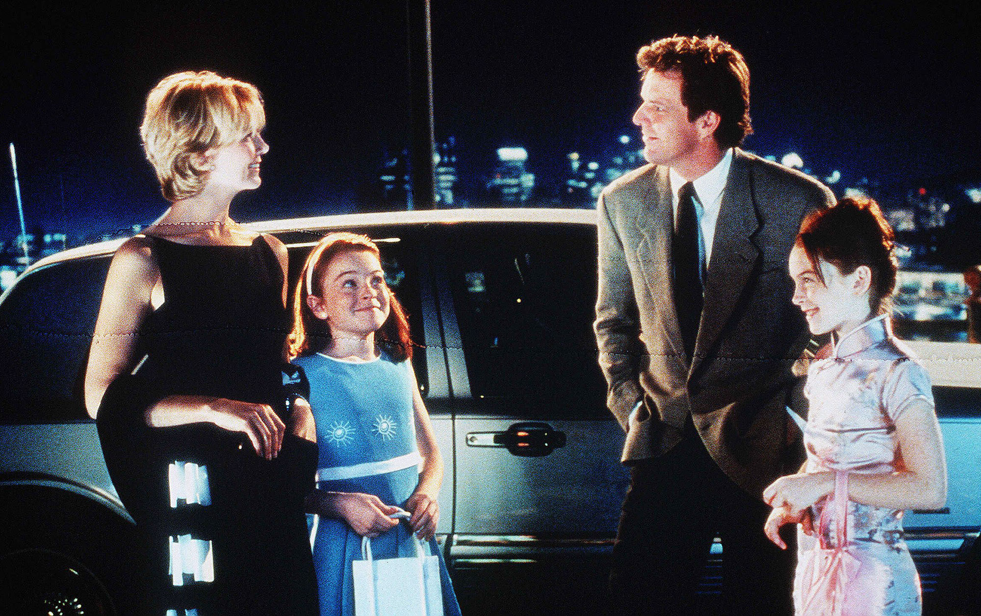 Nathsha Richardson Lindsay Lohan and Dennis Quaid in The Parent Trap