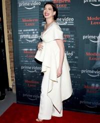 Pregnant-Anne-Hathaway-Baby-Bump-Modern-Love-Red-Carpet