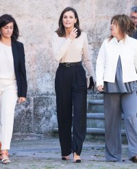 Queen Letizia Beige Top October 3, 2019