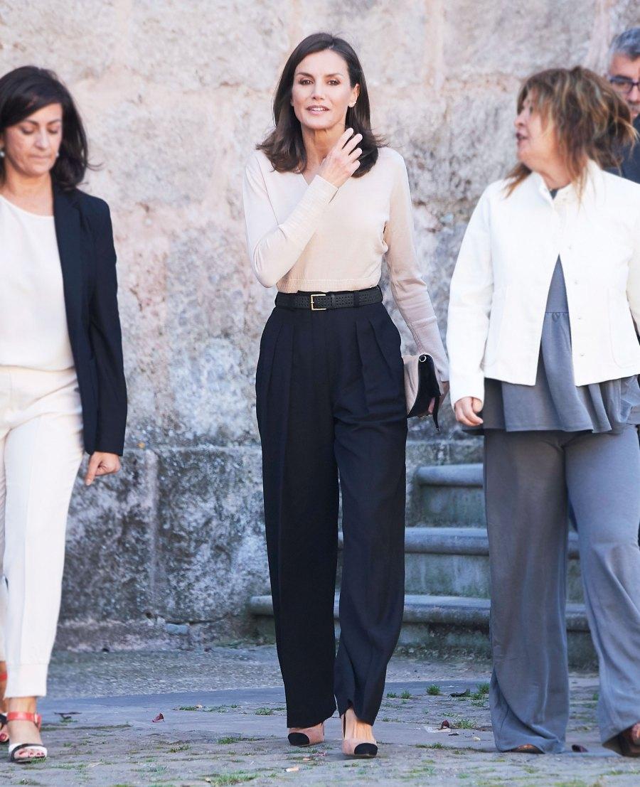 Queen Letizia Beige Top October 3, 2019