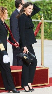 Queen Letizia Black Suit October 20, 2019