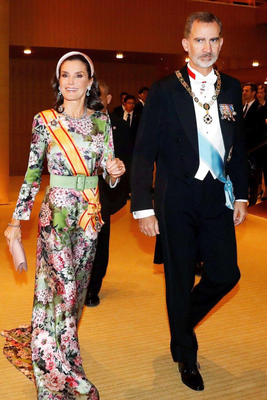 Queen Letizia Floral Gown October 22, 2019