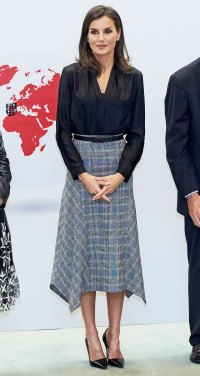 Queen Letizia Plaid Skirt October 30, 2019