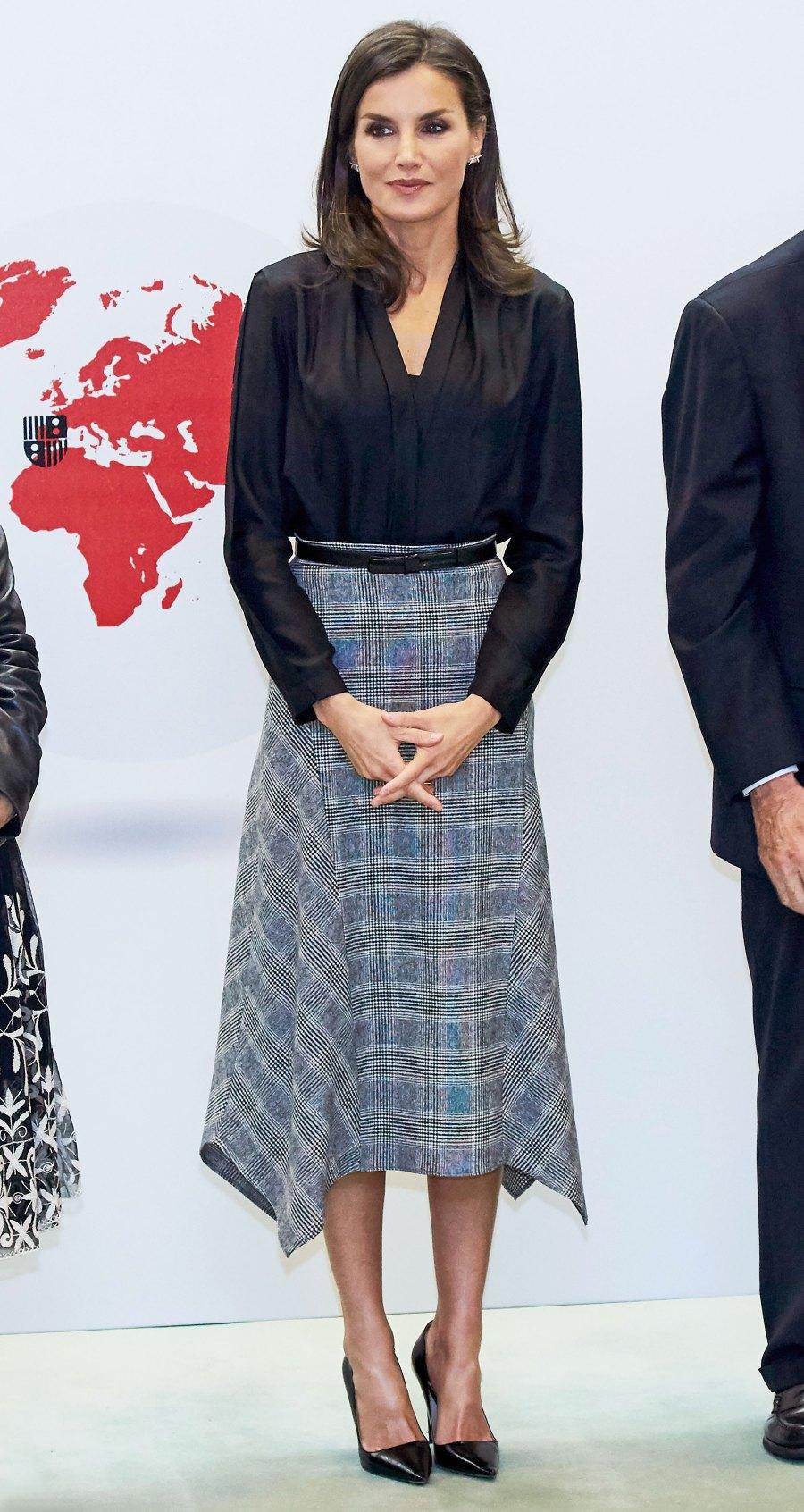 Queen Letizia Plaid Skirt October 30, 2019