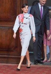 Queen Letizia Pale Purple Frock October 18, 2019