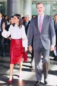 Queen Letizia Red Skirt October 23, 2019