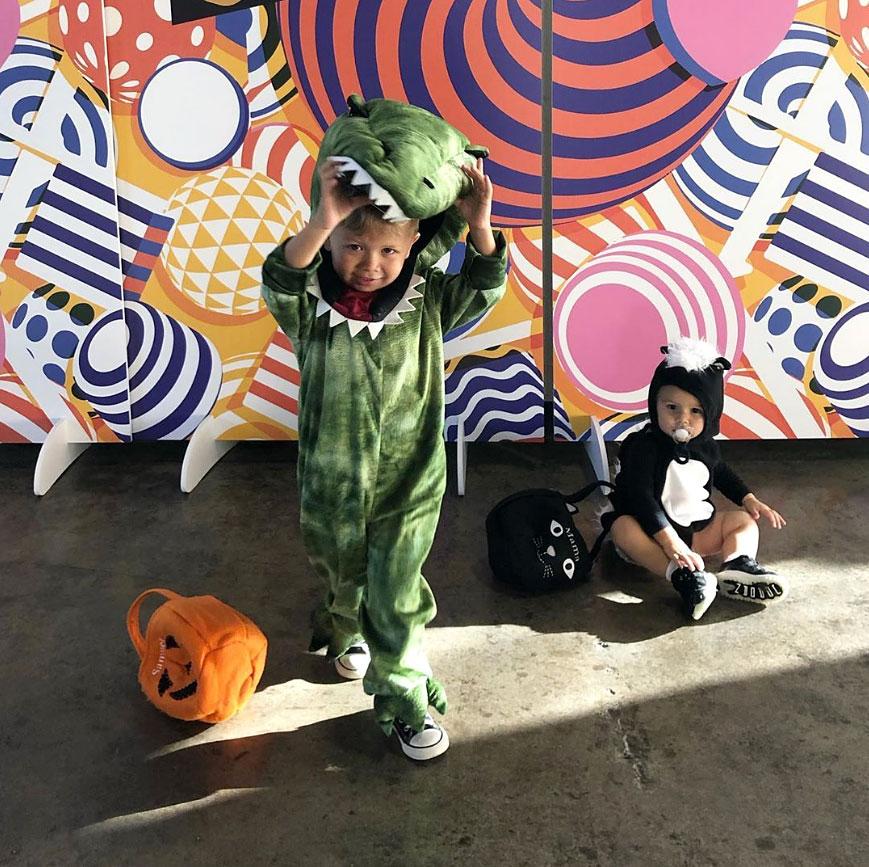 Samuel and Isaiah Lowe Catherine Giudici Lowe Instagram Halloween Costume Dinosaur Skunk