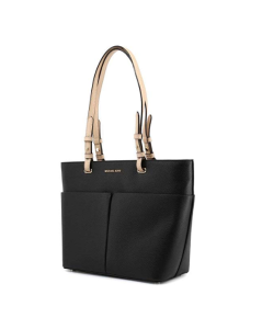 Michael Kors Black Leather Tote Side