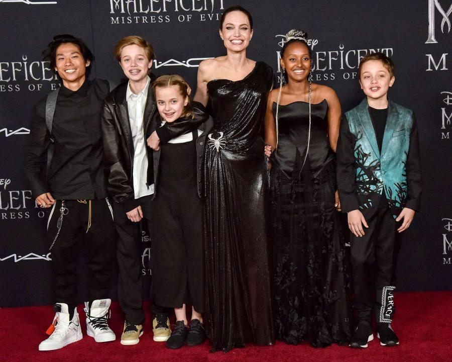 Shiloh Jolie-Pitt, Vivian Jolie-Pitt, Angelina Jolie, Zahara Jolie-Pitt and Knox Jolie-Pitt Maleficent Premiere