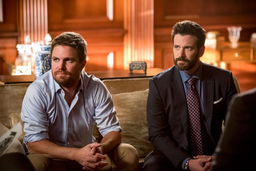 Stephen Amell as Oliver Queen Green Arrow and Colin Donnell as Tommy Merlyn Arrow Recap Arrowverse