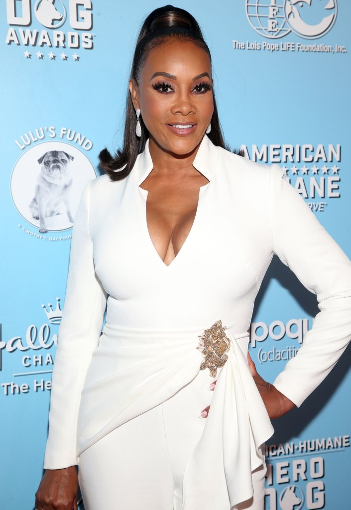 Vivica A. Fox American Humane Hero Dog Awards White Suit Outfit