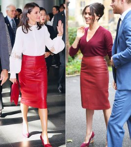 WWIB Queen Letizia vs. Duchess Meghan Same Red Skirt