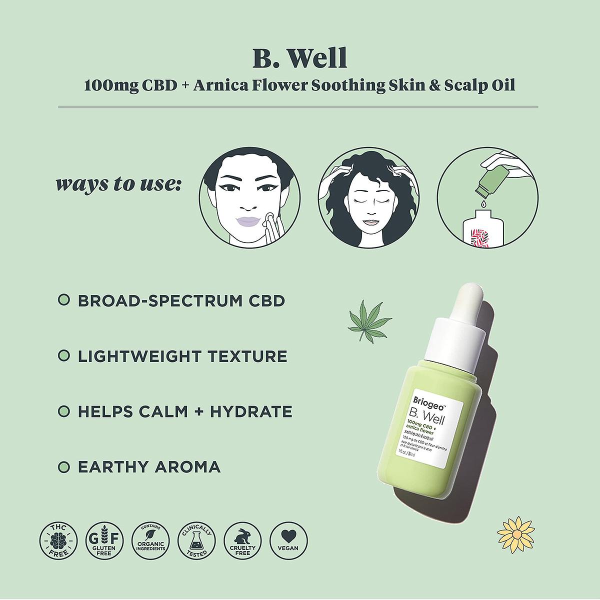 Briogeo B. Well 100mg CBD + Arnica Flower Soothing Skin & Scalp Oil