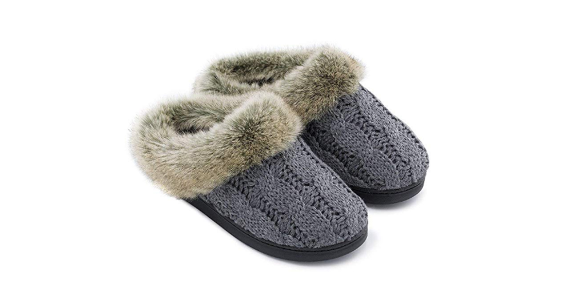 Women's Soft Yarn Cable Knitted Memory Foam Slippers