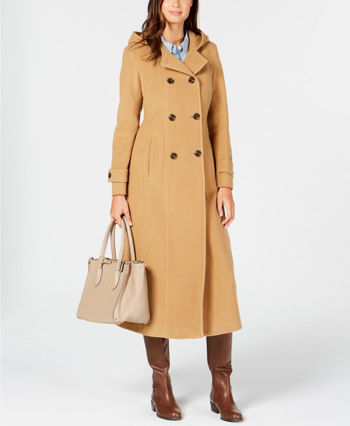 Anne Klein Double-Breasted Hooded Coat (Camel)