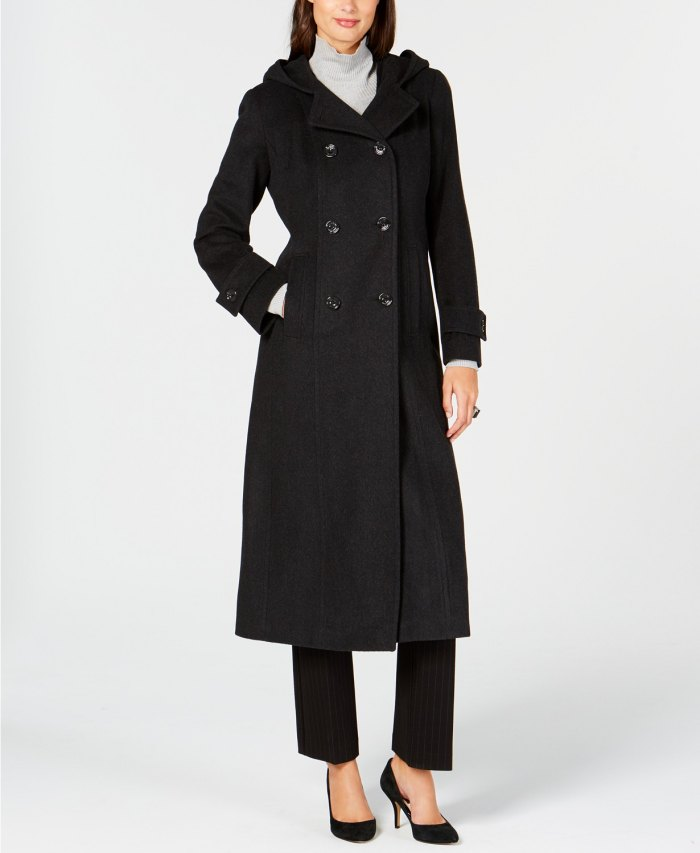 Anne Klein Double-Breasted Hooded Coat (Charcoal)