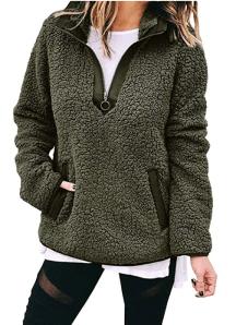 BTFBM Women's Fleece Sherpa Fuzzy Pullover olive green