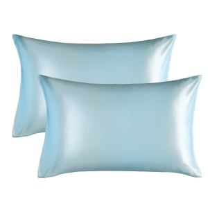 Bedsure Satin Pillowcase for Hair and Skin light blue